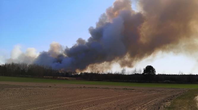 Widok pożaru z okolic Skolina, zdjęcie umieszczone na Facebooku przez  wójta gminy Wielkie Oczy Alberta Hawrylaka.